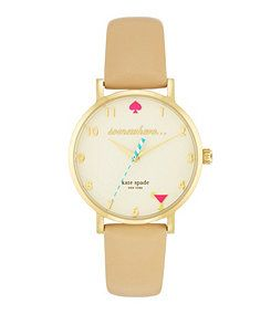 kate spade new york Novelty Metro It's 5:00 Somewhere Leather Strap Watch