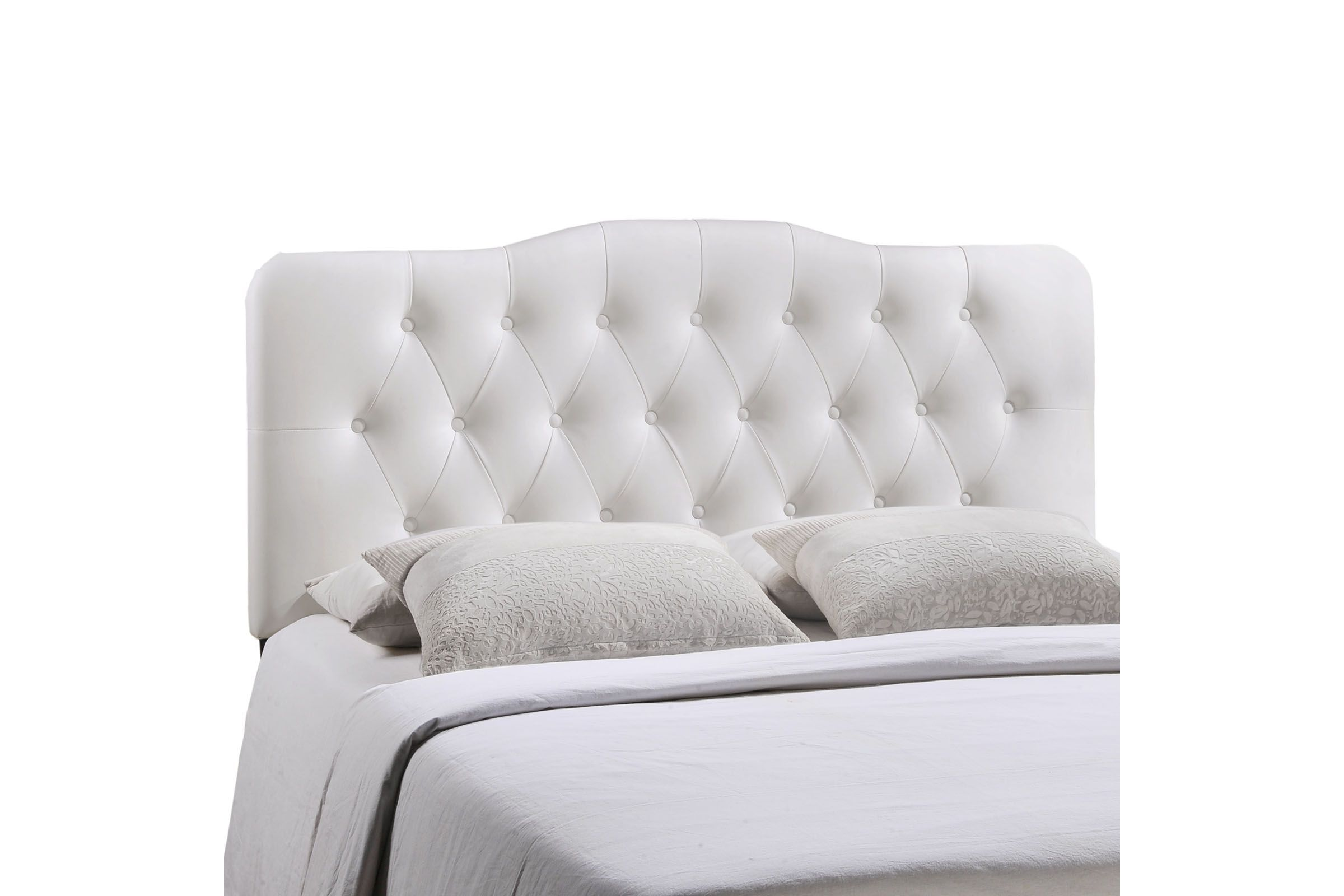 Annabel Queen Upholstered Headboard In White By Modway