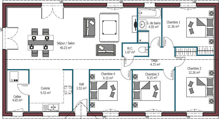 Modele Paradis Plan Maison Rectangulaire De 2 A 4 Chambres Maison Famili Plan De Maison Rectangulaire Plan De Maison Familiale Plan De Maison Fonctionnelle
