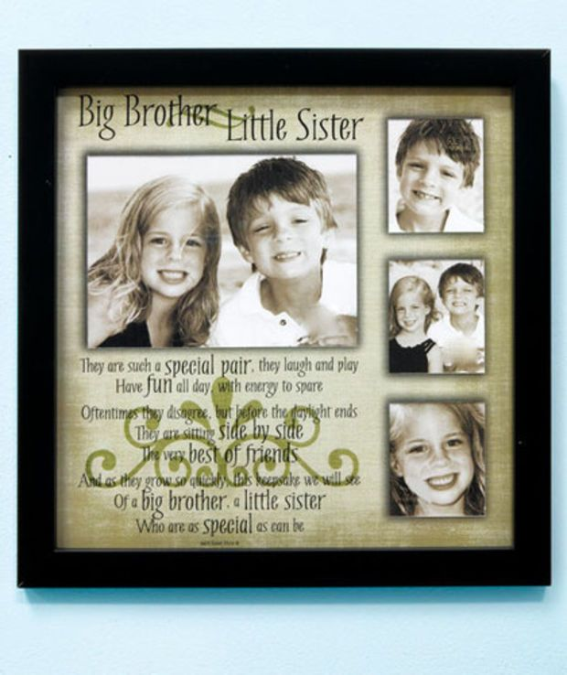 big brother little sister sibling collage picture frame with poem