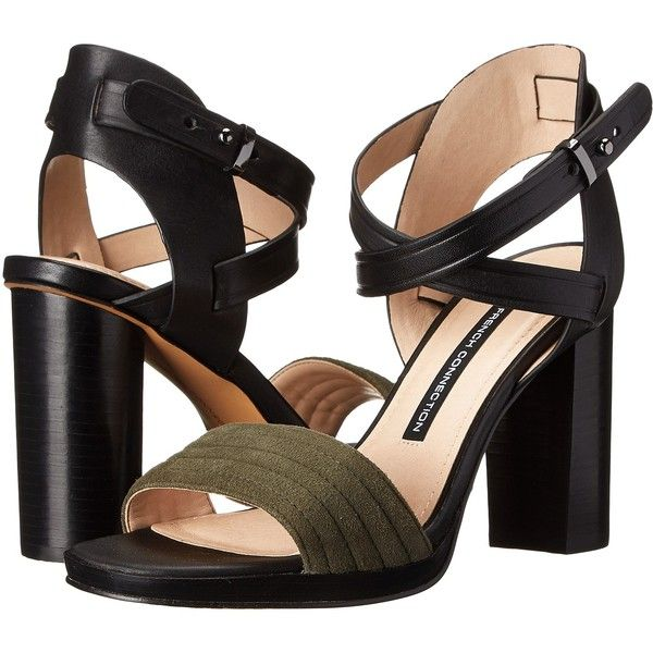 French Connection Tola High Heels, Black ($68) ❤ liked on Polyvore featuring shoes, sandals, black, open toe high heel sandals, black sandals, black open toe shoes, block heel sandals and open toe shoes