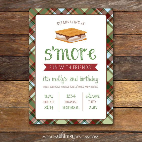 Smores Party Birthday Invitation Plaid By ModernWhimsyDesign