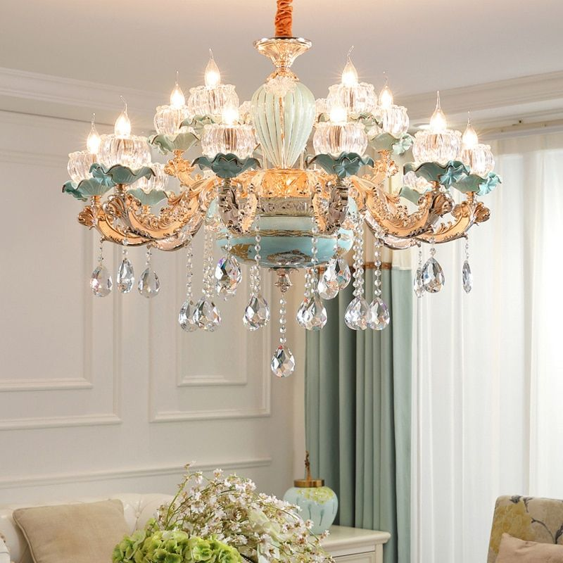 Rectangular Crystal Chandelier With Linear Design Dining Room In