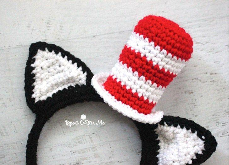 Crochet Cat in the Hat Headband | Moños y Cosas