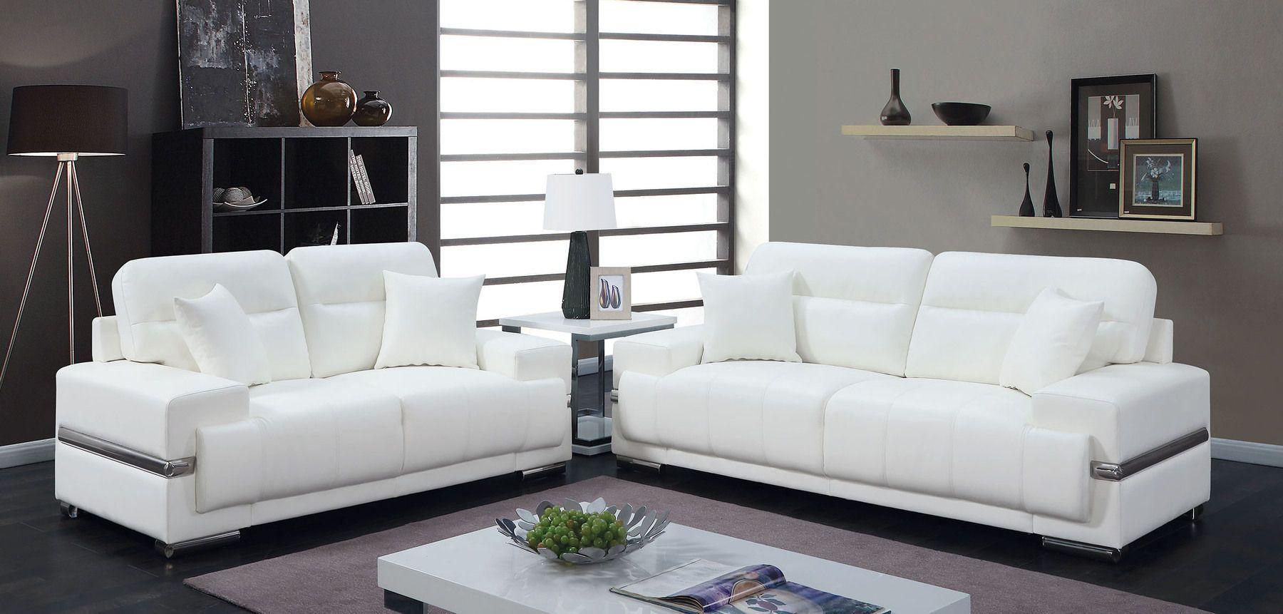 Furniture Of America Zibak White Contemporary Leatherette