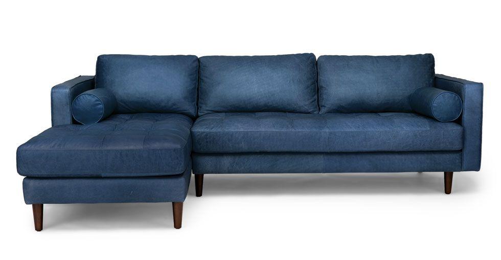Sven Oxford Blue Left Sectional Sofa