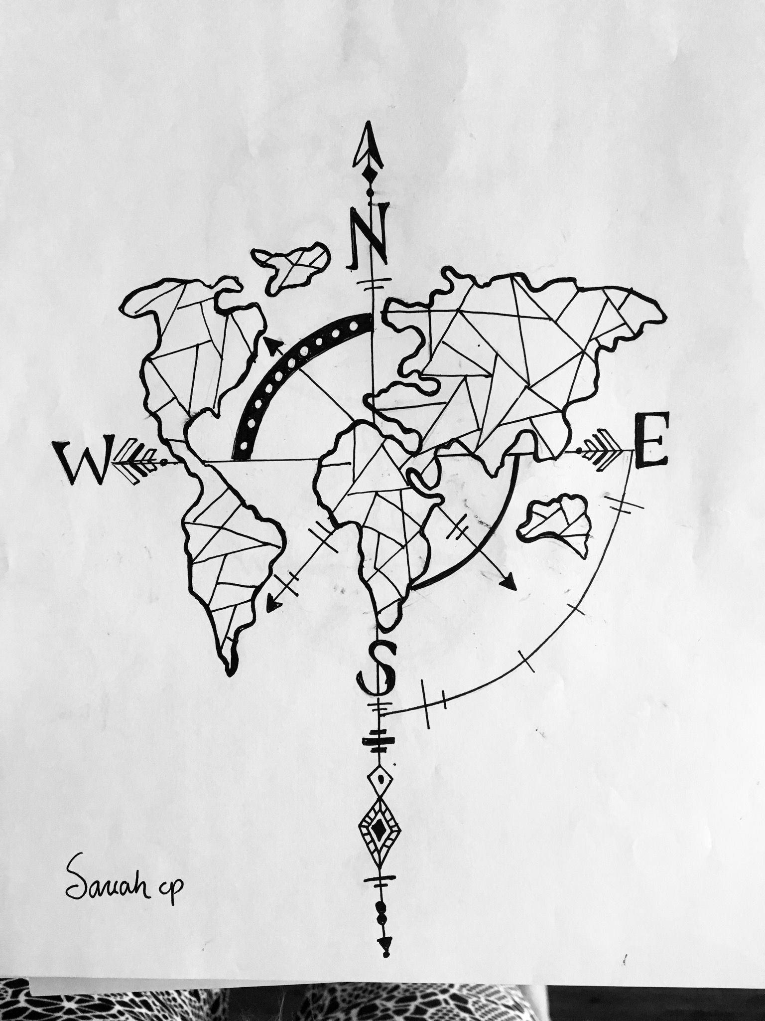 Map and compass line art black pen drawing in 2019 black