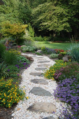 Landscaping Ideas With Natural Wood Chips Pathway With Stepping Stones Walkways Pathways Backyard Landscaping Pathway Landscaping Garden Design