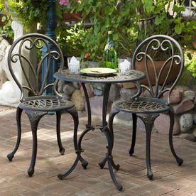 187 At Lowes Best Selling Home Decor 3 Piece Mesh Seat Aluminum Patio Bistro Set Outdoor Bistro Set Outdoor Patio Furniture Sets Outdoor Patio Set