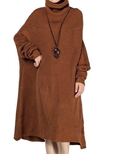 34bb269571b66 Minibee Women s Turtle Neck Long Sweater Dress Wear in Fr ...