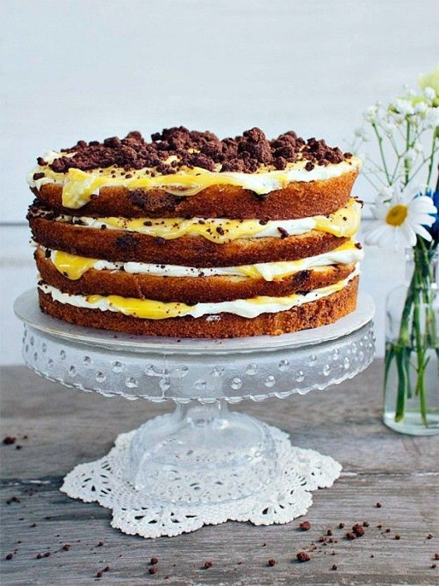 Chocolate Chip and Passion Fruit Naked Cake   Community Post: 15 Naked Cakes That Are As Delicious As They Are Beautiful