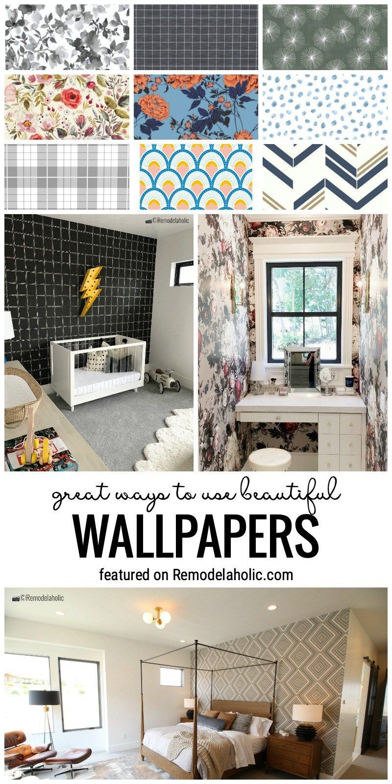 Great Ways To Use Beautiful Wallpapers In Many Different Ways All Over The Home Featured On Remodelaholic.com #wallpaperideas #prettywallpapers #wallpapers #wallpaper