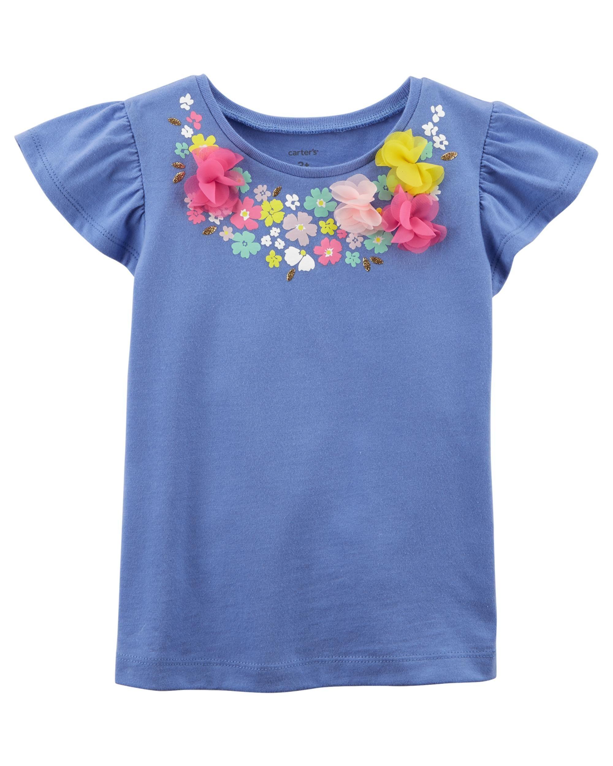 c5ca50a79 Floral Flutter Tee | Spring 2019 girls | Kids girls tops, Carters ...