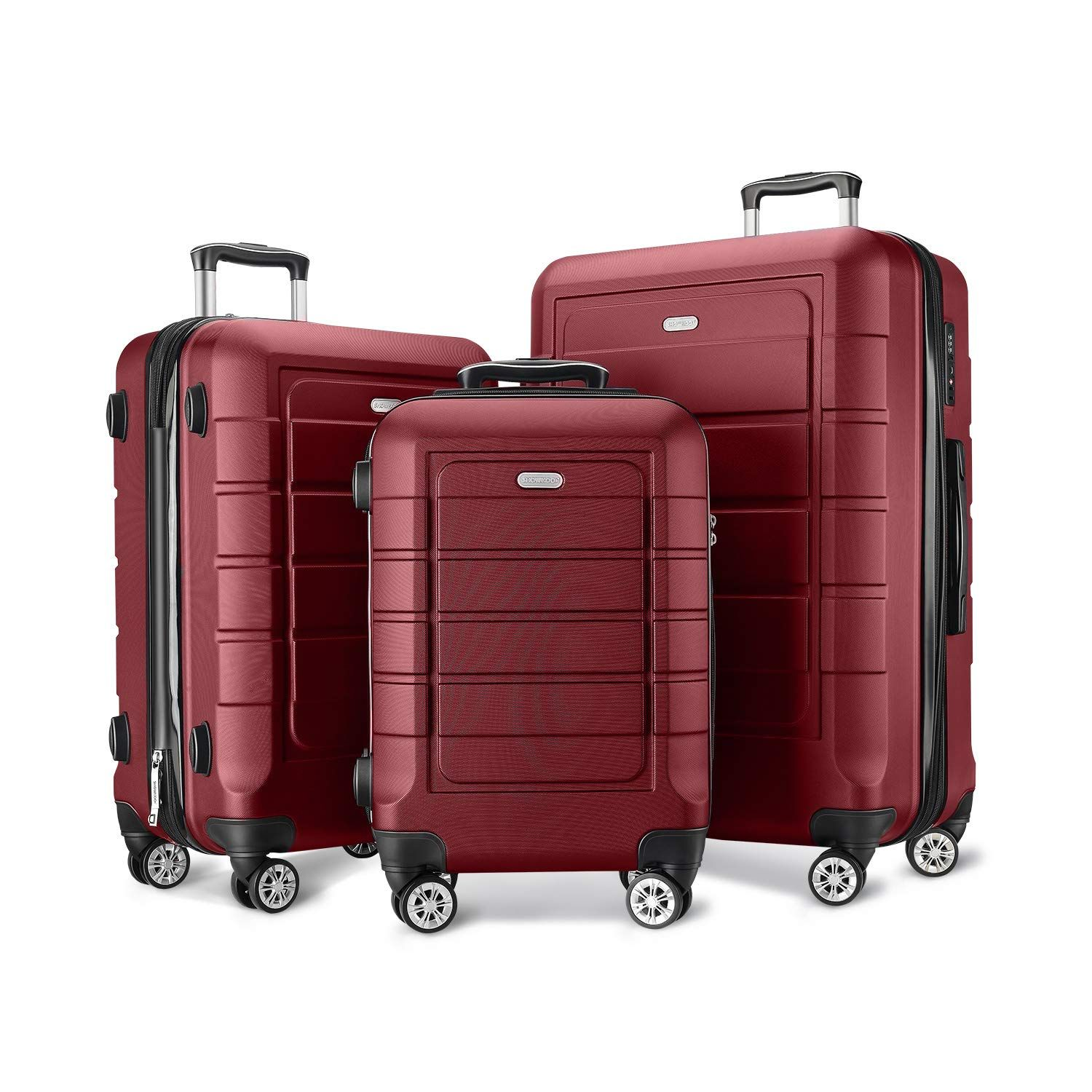 Showkoo Luggage Sets Expandable Pc Abs Durable Suitcase Double Wheels Tsa Lock Red Wine You Can Get More Details By Click In 2020 Luggage Sets Luggage Best Luggage