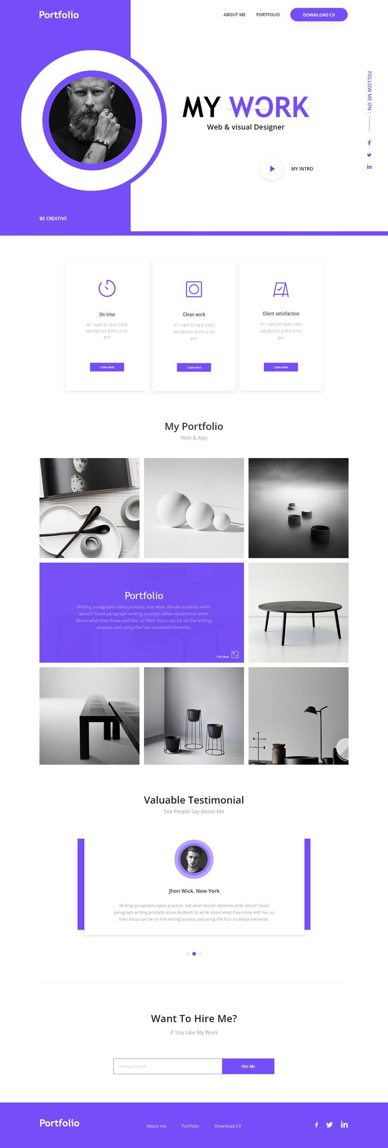 A personal portfolio website template made with Adobe XD