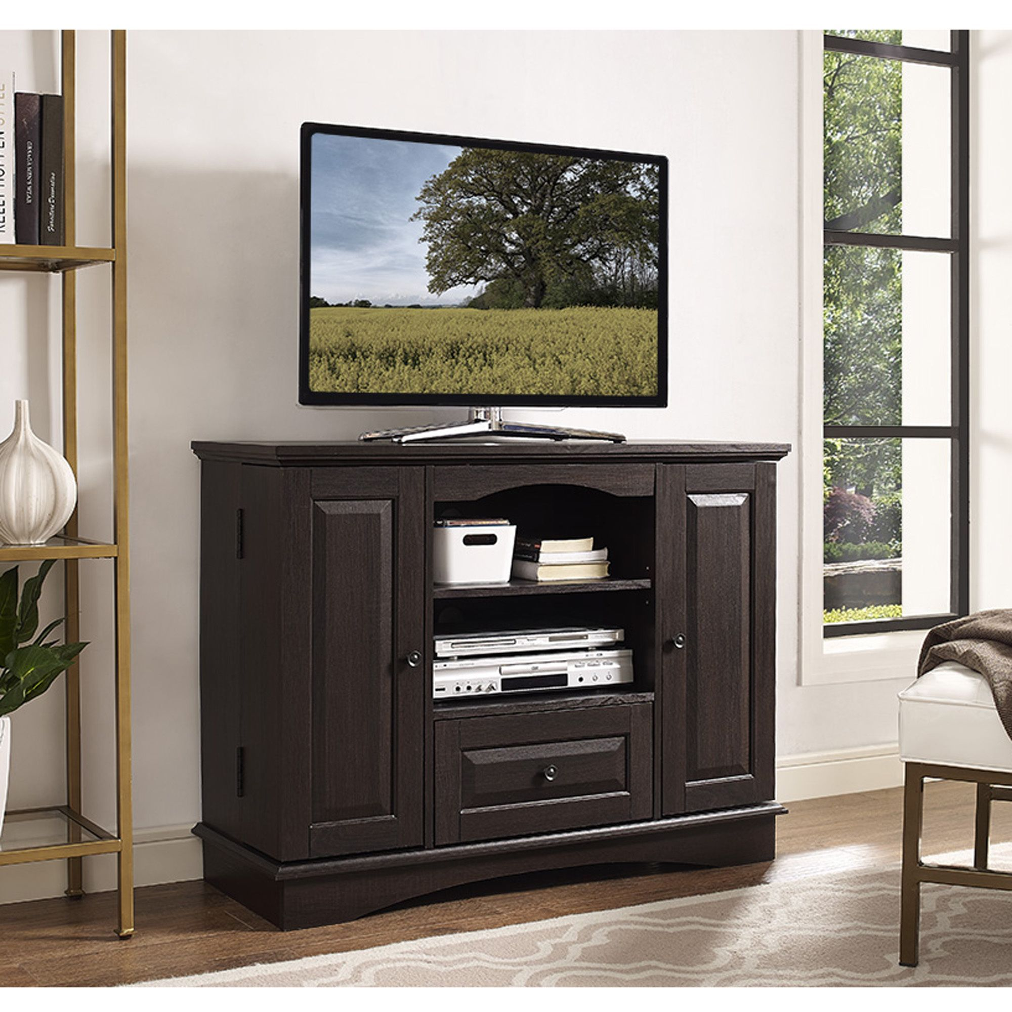 42 Inch Espresso Wood Tall Tv Stand With Storage 42 Espresso Wood