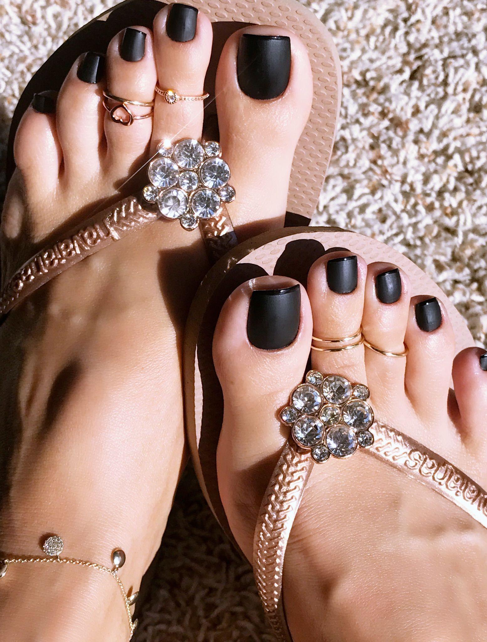 Black Matte French Pedicure. | Toe nail designs. in 2019 | Feet ...