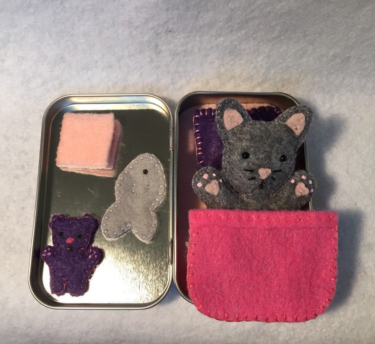 Lil' Maties- Grey cat -pink bed set in tin by MatiesMeadow on Etsy https://www.etsy.com/listing/213959566/lil-maties-grey-cat-pink-bed-set-in-tin
