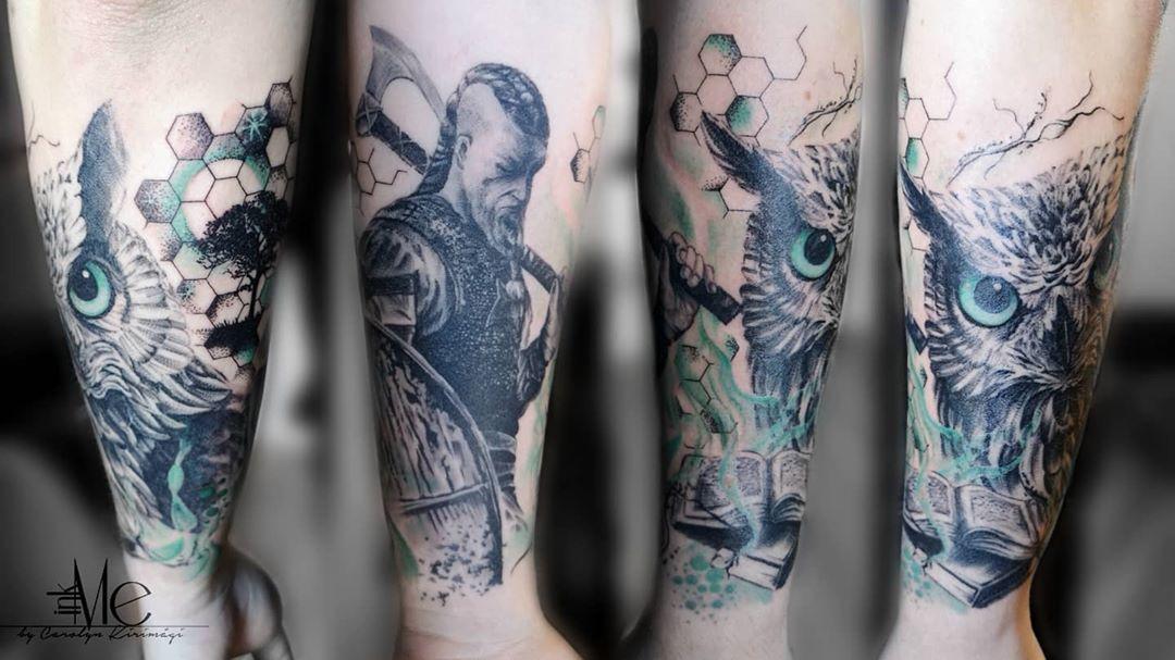 #tattoo #tattooed #ink #inked #tattoosofinsta #tattoosofinstagram #tattooart #inkme #inkmebycarolynkirimägi #vikingtattoo #owltattoos #trashpolkatattoo #trashtattoo