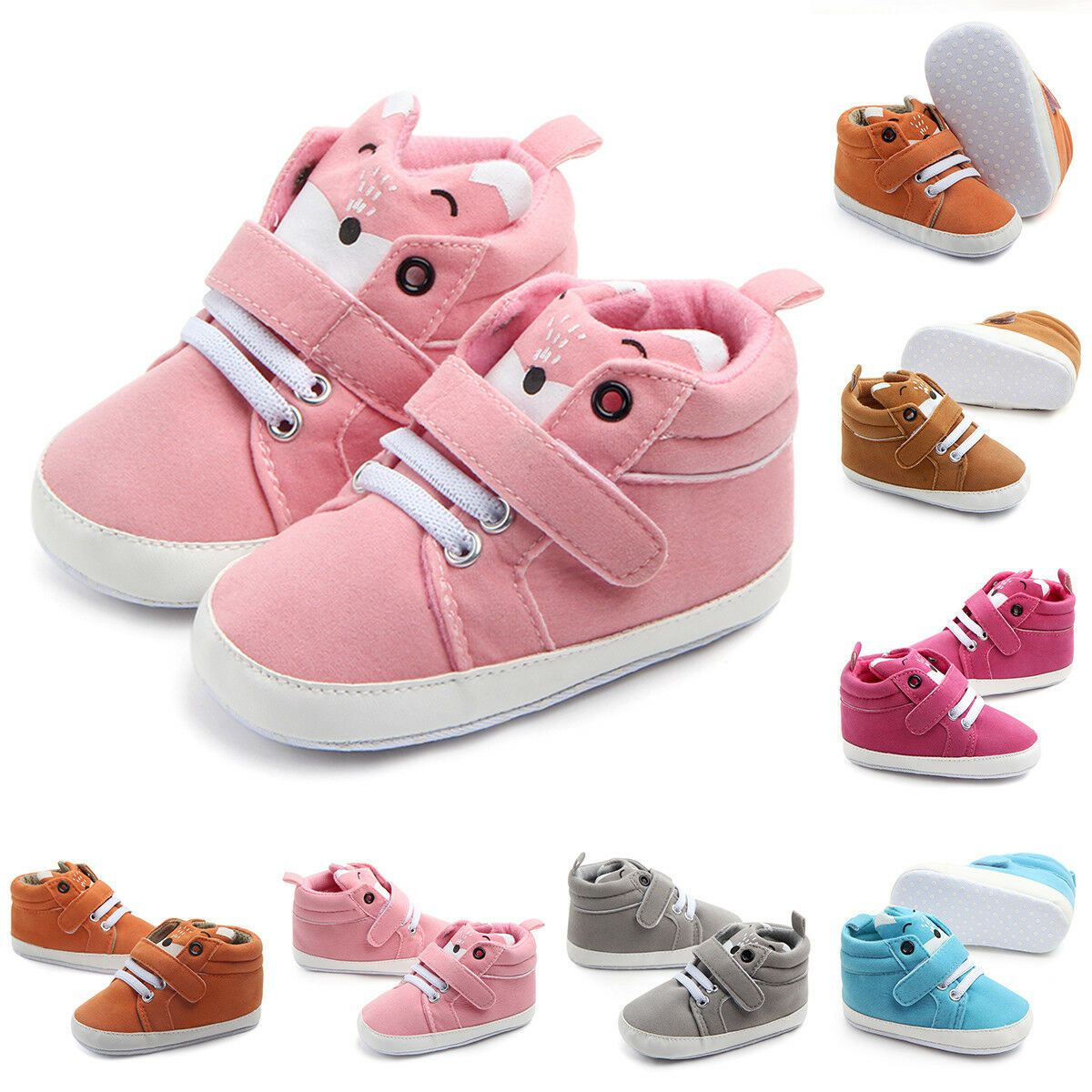 Newborn Infant Baby Girl Soft Sole Prewalker Sneakers Toddlers Anti-Slip Outdoor Shoes