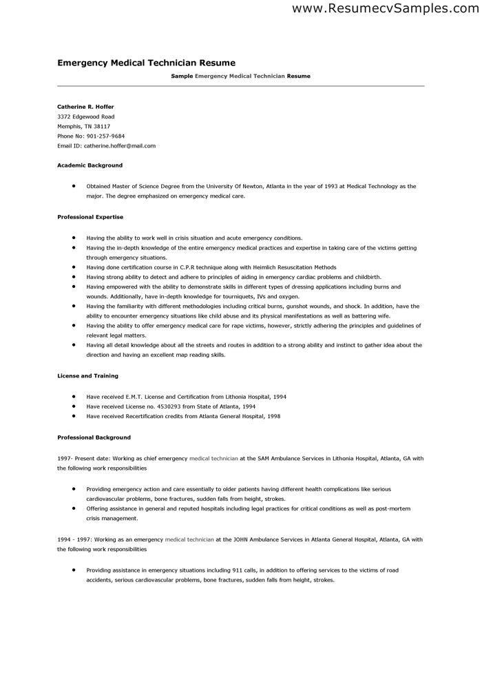 emergency medical technician resume - Onwebioinnovate