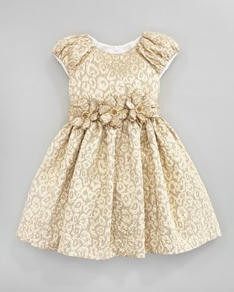 Brocade Floral-Belt Dress, Gold, Sizes 2Y-10Y by David Charles at ...
