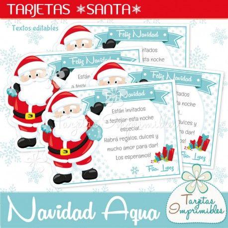 Tarjetas Santa Claus con textos editables para imprimir ...