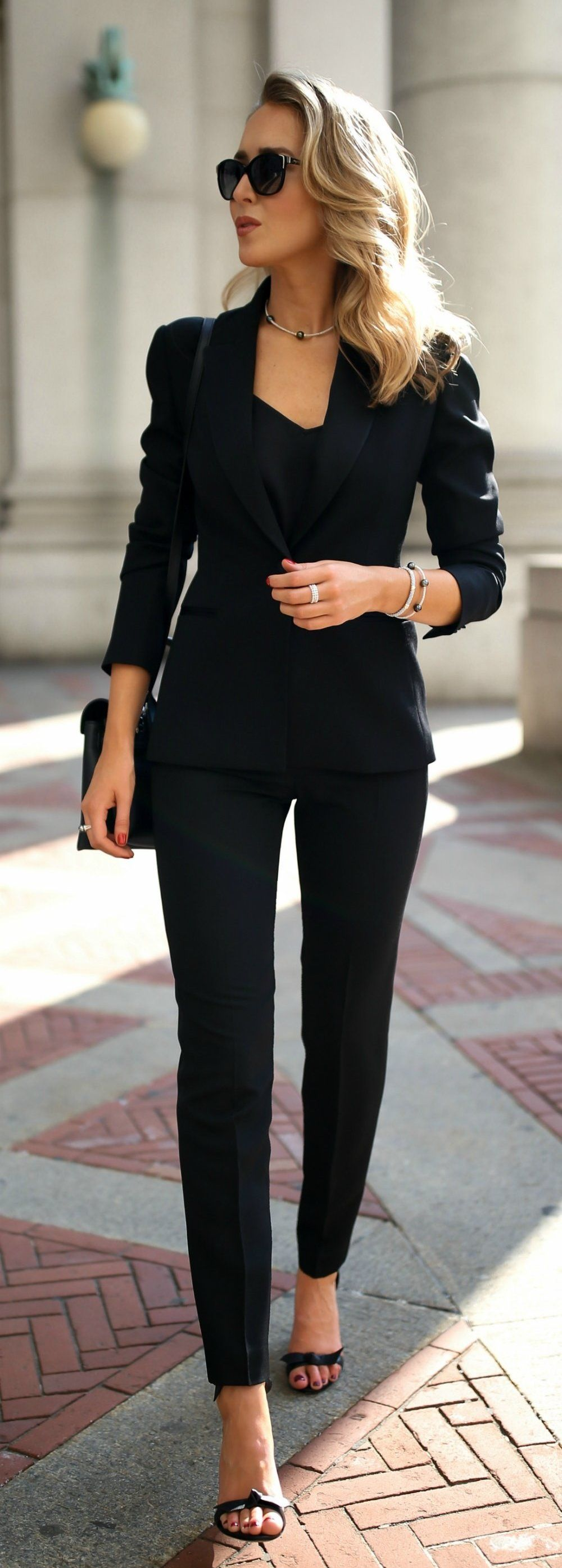 Fall Outfits Women S Black Blazer And Dress Pant Classy Outfits For Women Professional Outfits Office Outfits Women [ 2786 x 1000 Pixel ]