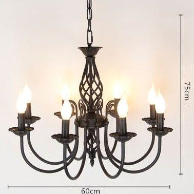 Goedkope Vintage Smeedijzeren Kroonluchter E14 Kaars Lamp