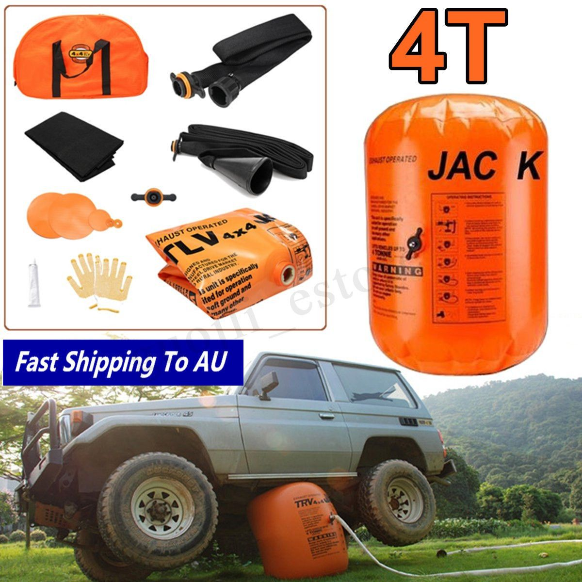 4T Dual Inflatable Air Jack Exhaust Pump Vehicle Car Truck