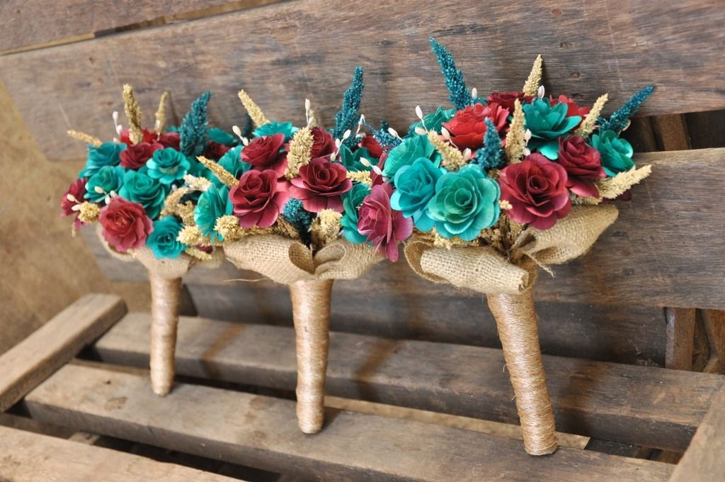 Pictures Of Rustic Weddings Teal And Tan Maroon Bouquet