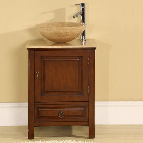 22 Corciano Vessel Sink Vanity With Cherry Wood Cabinetry And
