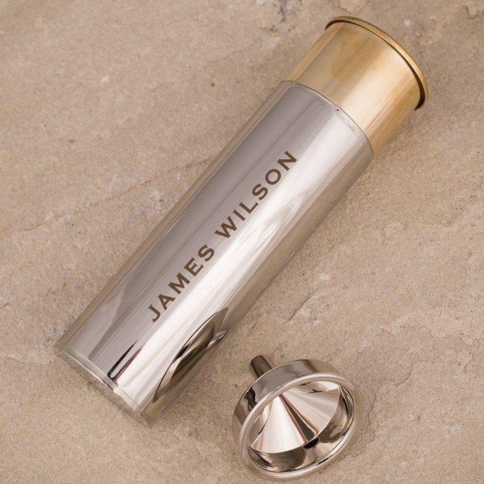 personalised stainless steel gun cartridge hip flask name