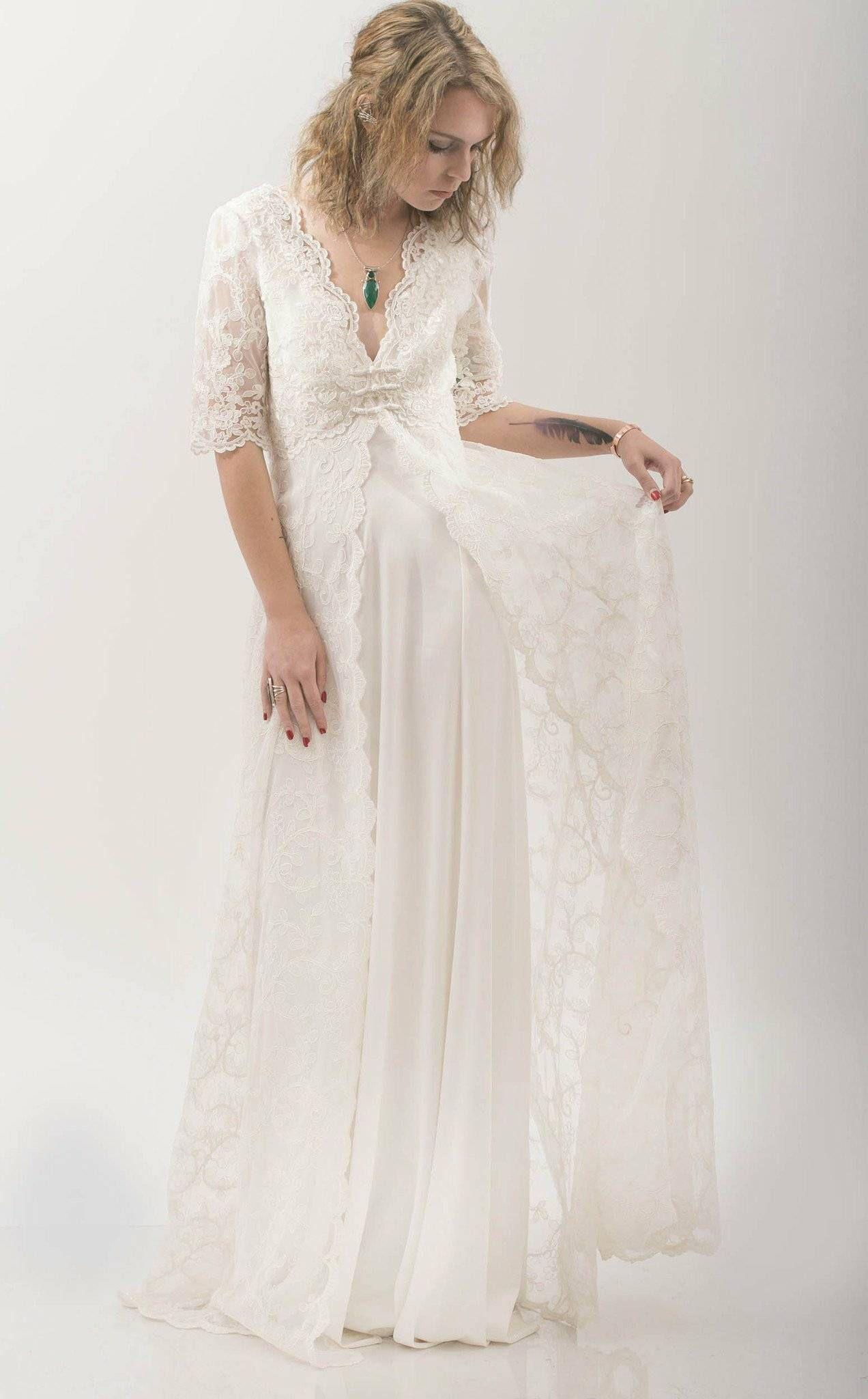 Bohostyle lace wedding dress casual wedding dress