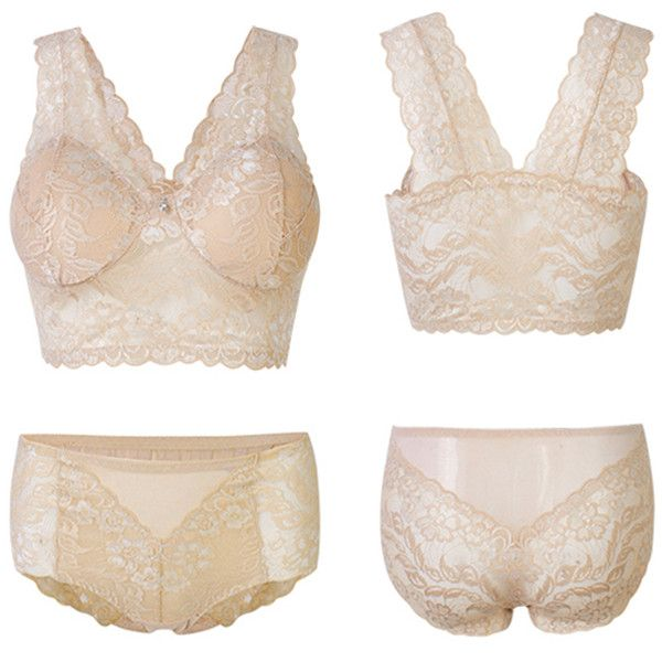 fdc15eed92 Women Lace Bra Sets Seamless Breathable No Rims Soft Yoga Sleeping Sexy Vest  Undies With Panties