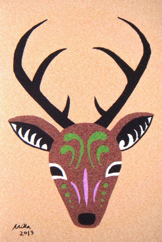 Deer Antlers Woodland Deer Totem Digital Illustration Print Home ...