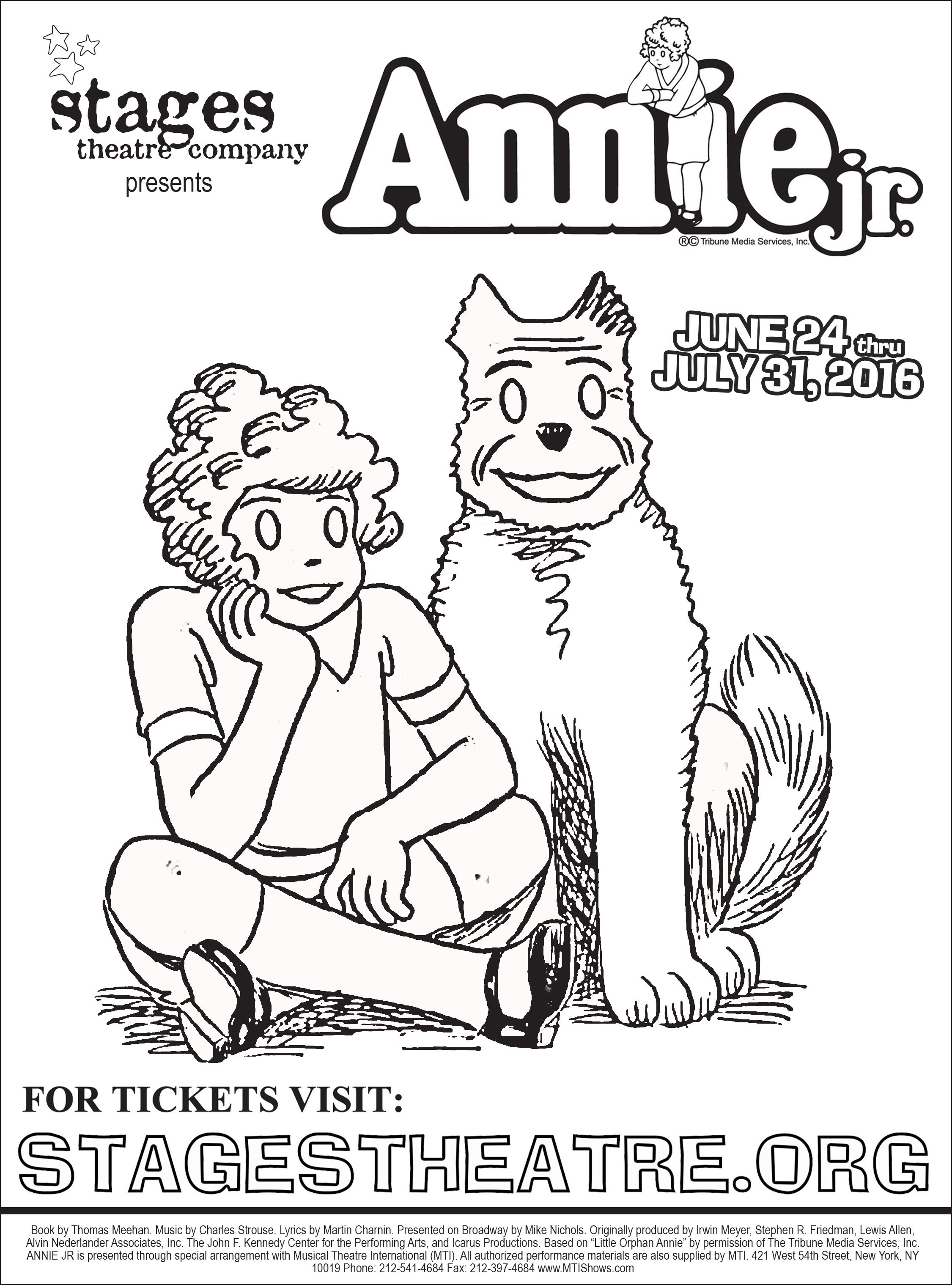 Annie Jr Coloring Page Tickets