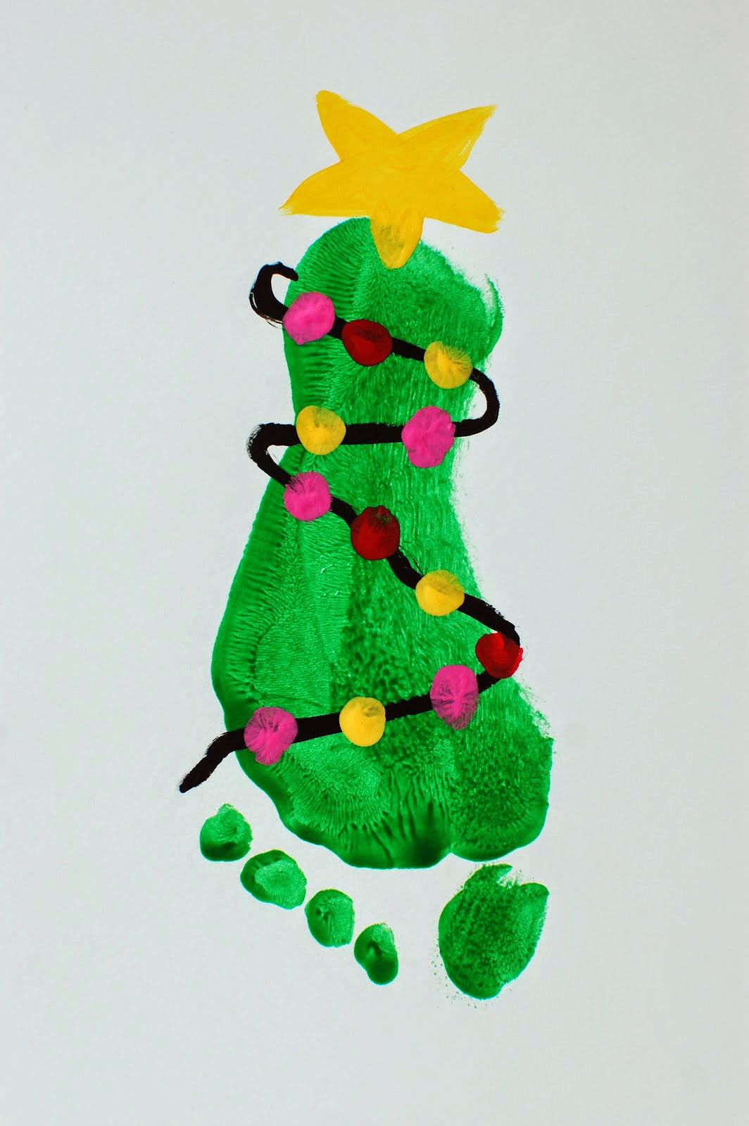 Christmas Card idea??? Pinkie for Pink: Kids Christmas Art Projects #mistletoesfootprintcraft