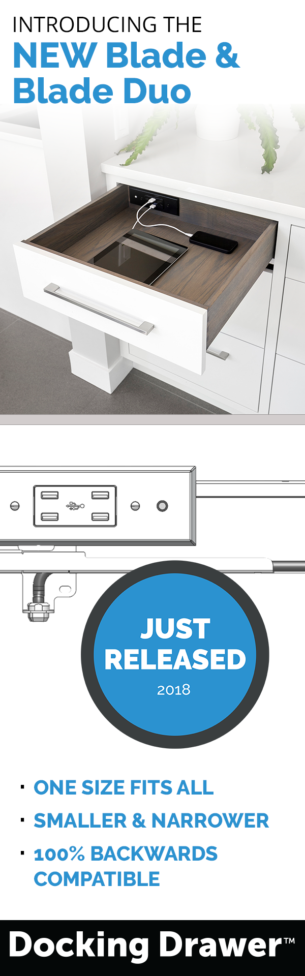 Introducing our newly designed blade series indrawer charging