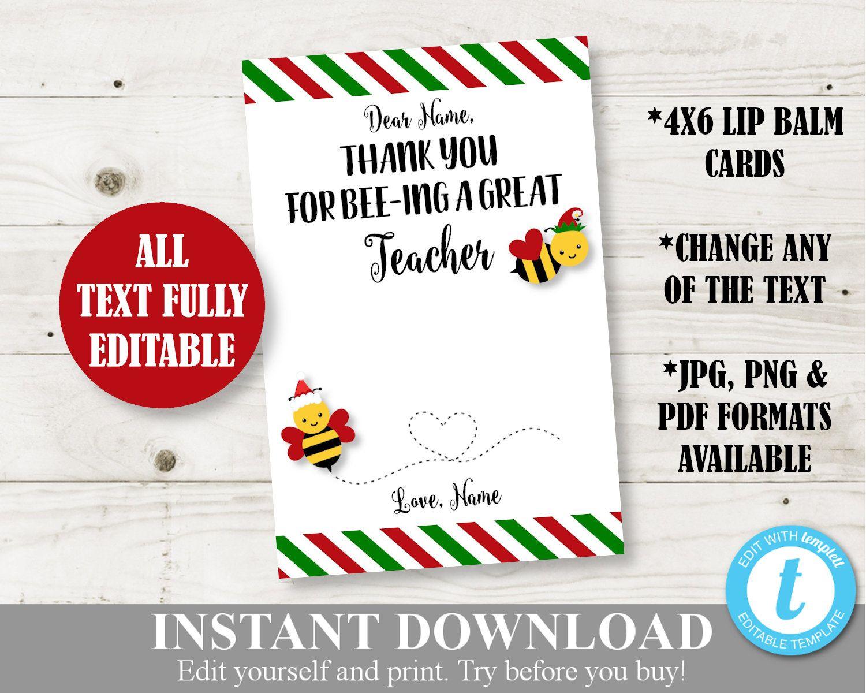 Instant Download Printable Christmas 4x6 Bee Lip Balm