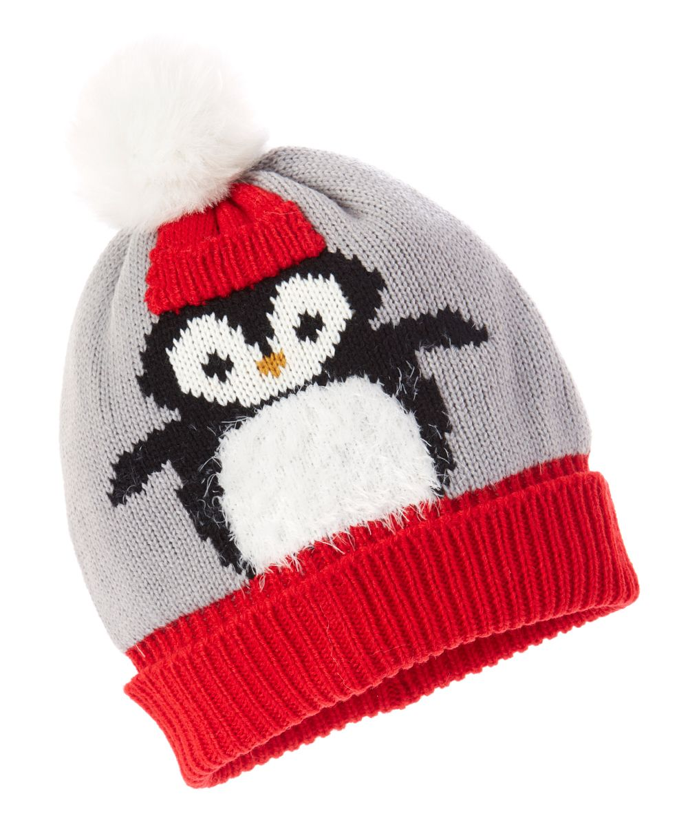 c20615664c1 Gray   Red Chilly Penguin Pom-Pom Beanie