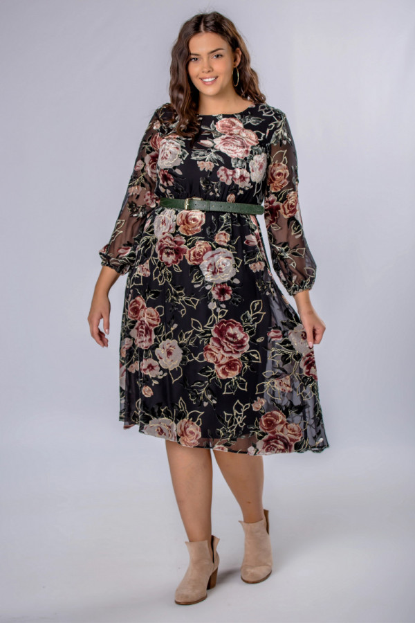Sukienka Midi W Kwiaty Plus Size Dresses Autumn Fashion Cold Shoulder Dress