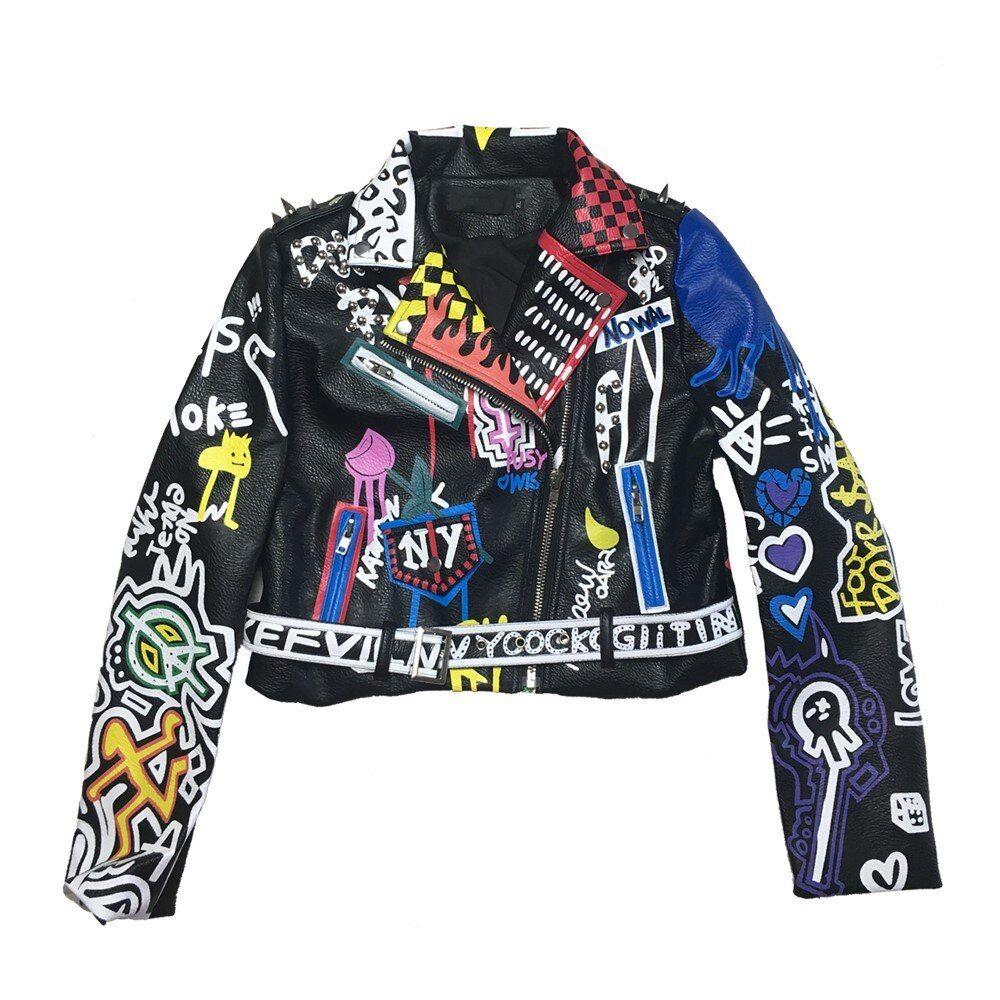Rivet Beading Pu Leather Jacket Women Graffiti Colorful Print Biker Jackets And Coats Punk Streetwear Jacket Leather Jackets Women Jackets Streetwear Jackets [ 1000 x 1000 Pixel ]