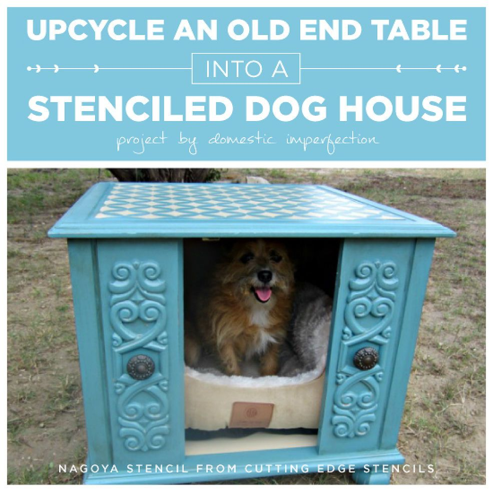 Upcycle An Old End Table Into A Stenciled Dog House Dog Houses  # Muebles Sleeping Dogs