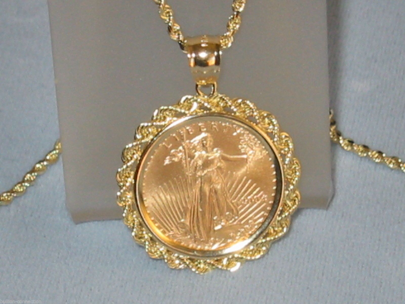 New 14kt Solid Gold Rope Bezel For 1 10 Oz American Gold Eagle Fits 14mm Coins Halskette Kette Hals