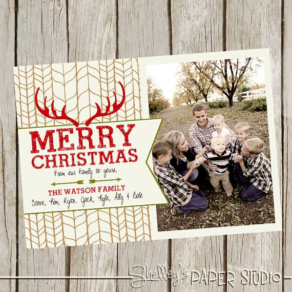 Christmas Card Rustic Antler By Shelleyspaperstudio On Etsy 18 00 Christmas Crafty Christmas Card Template Christmas Cards