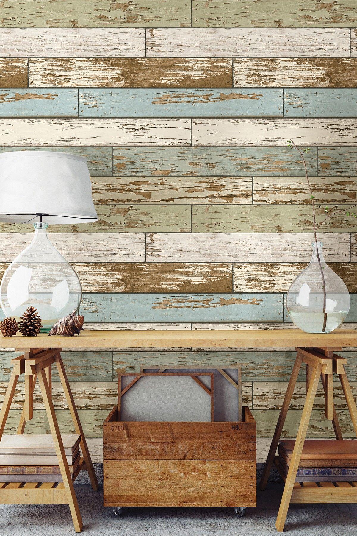 Wallpops Old Salem Vintage Wood Peel And Stick Wallpaper Hautelook Wood Wall Design Stick On Wood Wall Wood Wallpaper