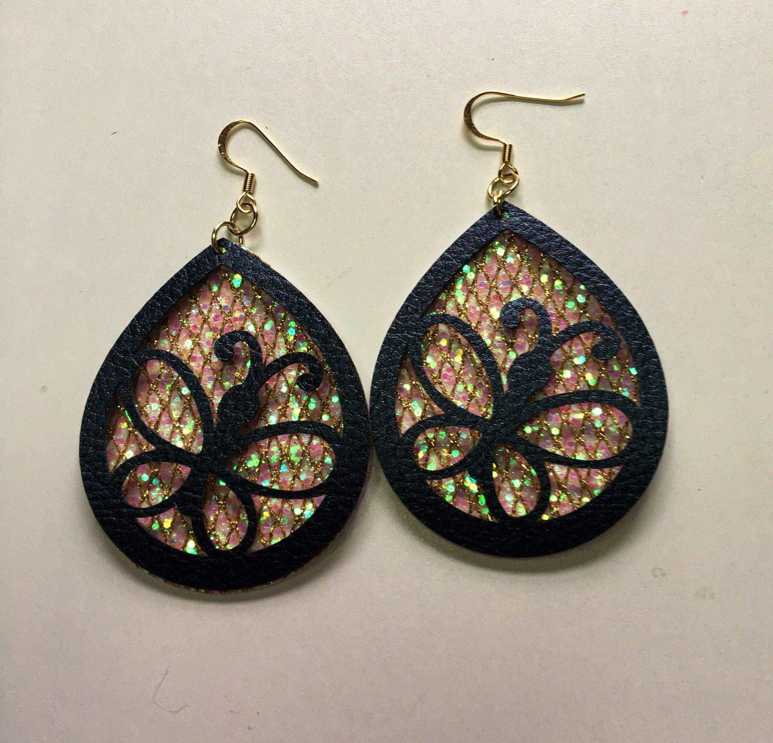 Feather Earrings Fall Jewelry Olive Boho Fan Earrings Faux Leather Earring Glitter Earrings Trendy Jewelry Fringe Earrings