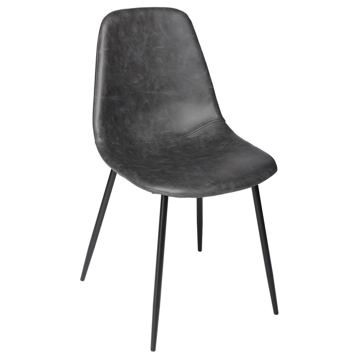 Lot De 2 Chaises Pu Gris Effet Vieilli Pieds Metal Noir 53x43x82cm Taille Taille Unique Chaise Vintage Chaise Et Chaise Osier