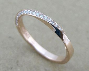 Mobius Diamond Ring Gold Infinity Wedding Band Engagement